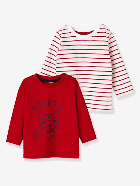 Lot de 2 T-shirts bébé garçon manches longues LOT CARAMEL+Lot jaune moutarde+LOT MARINE GRISE+Lot Rouge 23 - vertbaudet enfant