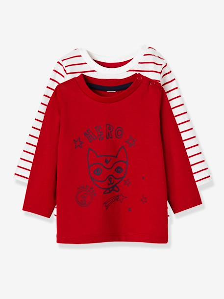 Lot de 2 T-shirts bébé garçon manches longues LOT CARAMEL+Lot jaune moutarde+LOT MARINE GRISE+Lot Rouge 20 - vertbaudet enfant