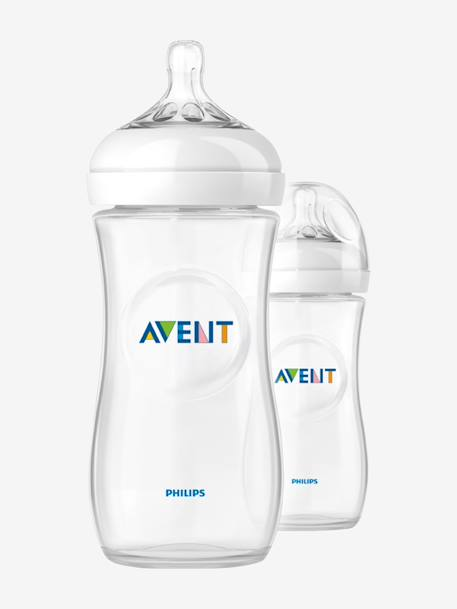 Lot de 2 biberons 330 ml Philips AVENT Natural sans BPA Transparent 1 - vertbaudet enfant