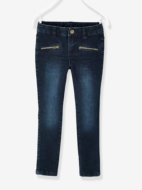 Pantalon skinny fille en denim tour de hanches MEDIUM Denim brut 1 - vertbaudet enfant