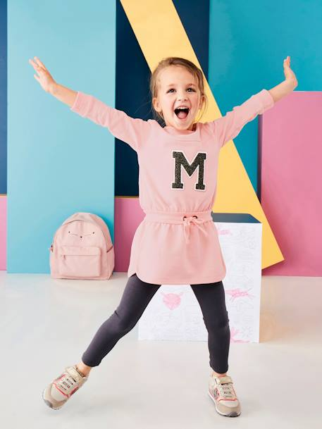 Ensemble sport fille robe molleton + legging Rose pâle 1 - vertbaudet enfant