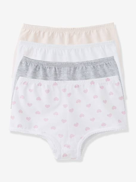 Lot de 4 shorties fille Blanc+rose+gris clair 2 - vertbaudet enfant