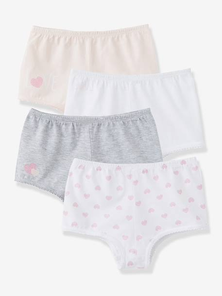 Lot de 4 shorties fille Blanc+rose+gris clair 12 - vertbaudet enfant