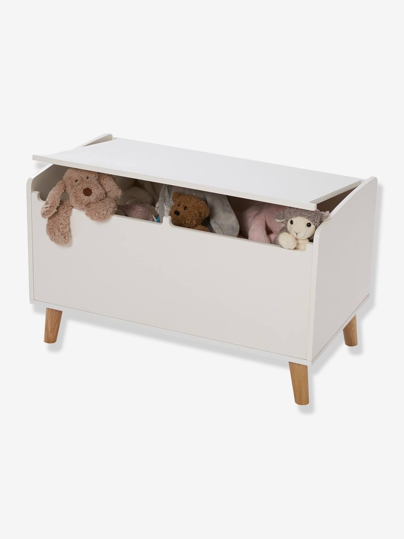 coffre jouets en bois gris blanc