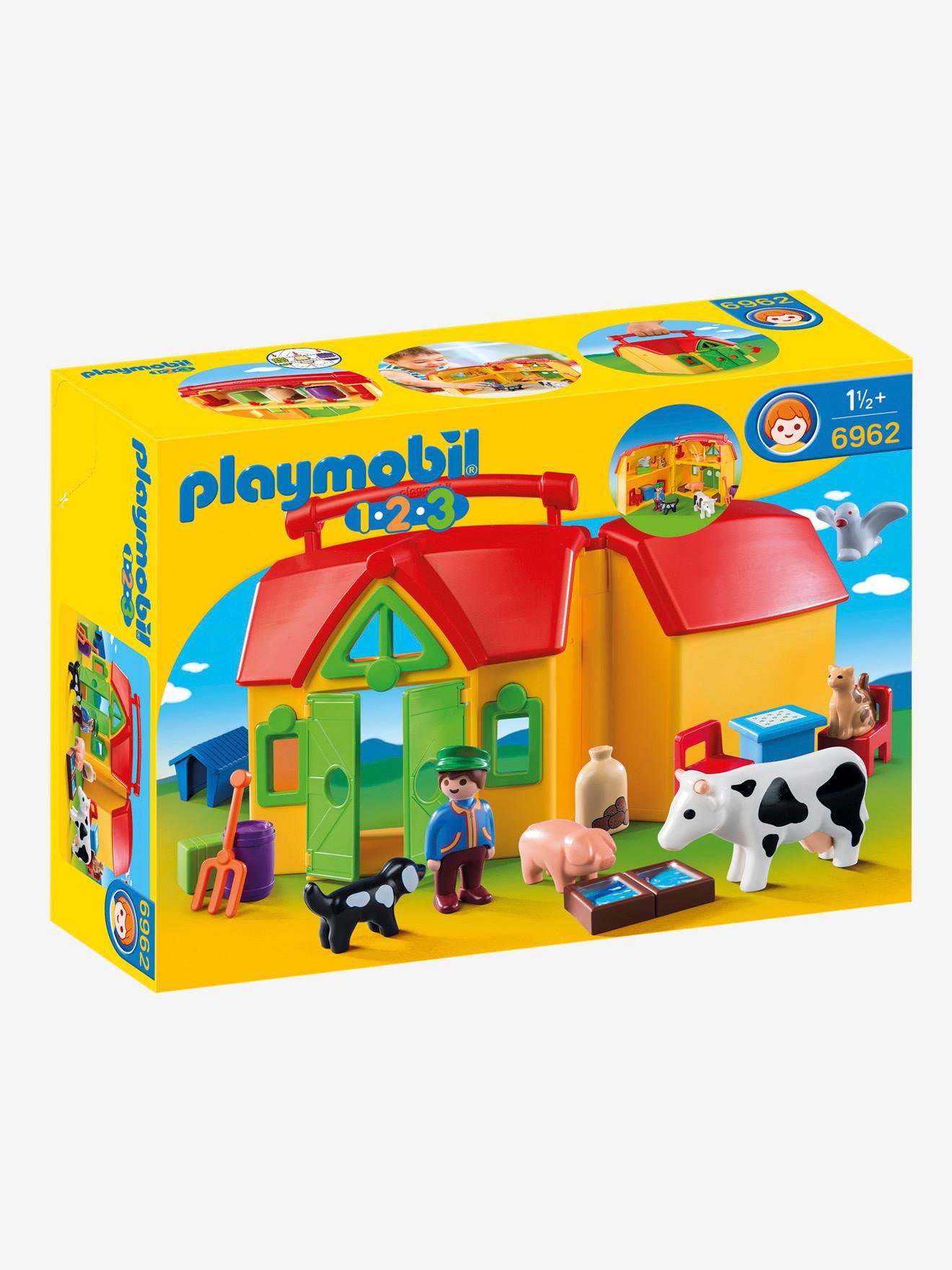 La ferme transportable avec animaux est adaptee a l'enfant de 18 a 36 mois avec des jeux de formes, des animaux et une grange. Elle sert a la fois de decor et de boite de rangement. CONTIENT : 1 personnage, des animaux (chat, chien, oiseau, cochon et vach
