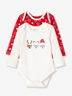 Outlet-Lot de 2 bodies de noël coton stretch manches longues
