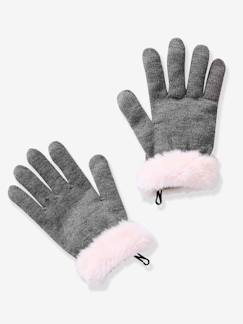 Nouvelle collection-Fille-Gants ou moufles fille bord aspect fourrure