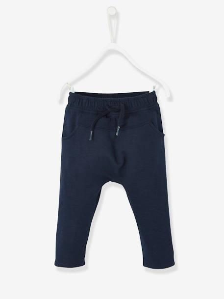 01e4c96b93e01 Pantalon molleton bébé garçon uni Bleu clair+Marine grisé+Orangé 3 - vertbaudet  enfant
