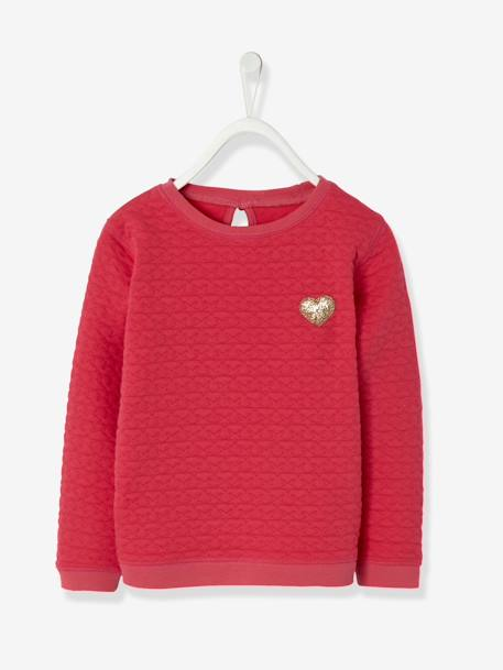 Sweat fille molleton texturé Encre+Rose vif 6 - vertbaudet enfant