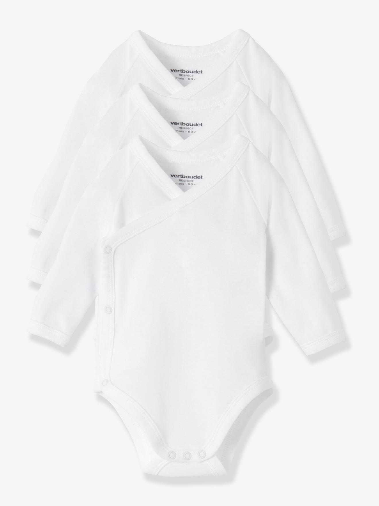 SOLDES - Lot de 3 bodies naissance Bio Collection blanc manches longues blanc vertbaudet