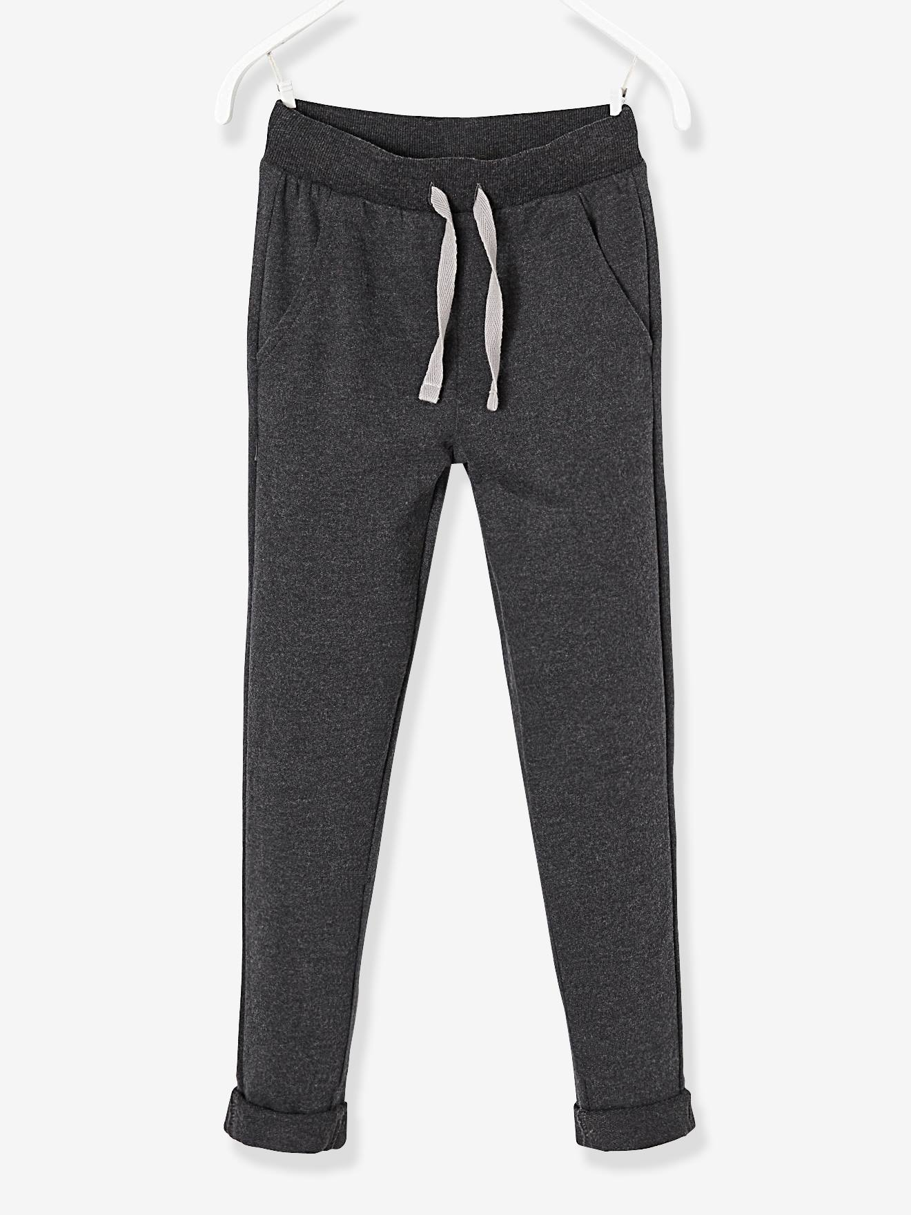Pantalon garçon en molleton noir chiné -