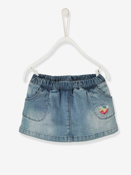 Jupe-short en denim bébé fille Denim bleached 1 - vertbaudet enfant