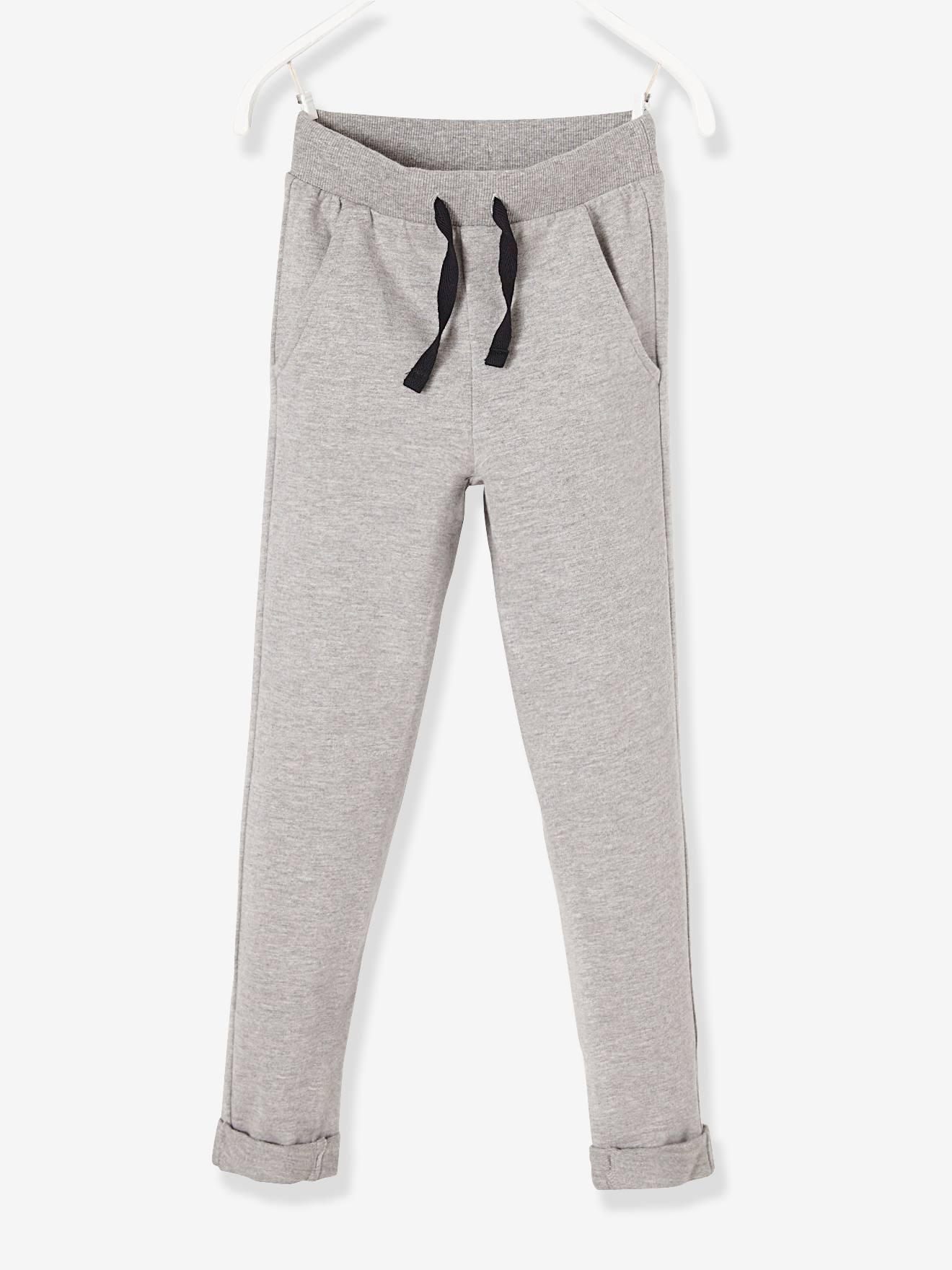 Pantalon garçon en molleton gris chiné -
