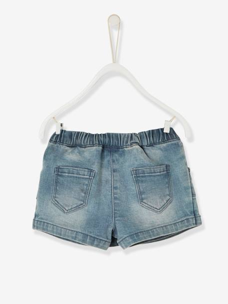Jupe-short en denim bébé fille Denim bleached 2 - vertbaudet enfant