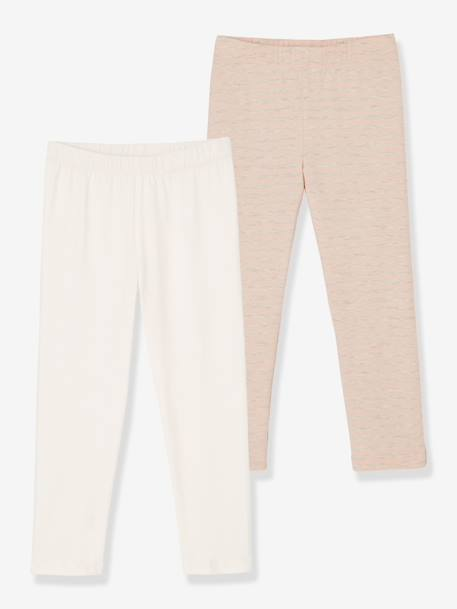 Lot de 2 leggings fille mi-mollets Gris+jaune+Rose rayé+blanc 10 - vertbaudet enfant