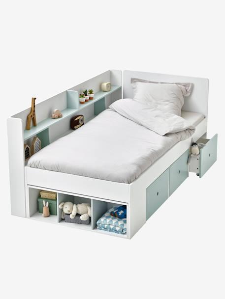 lit plateforme enfant avec rangements baseo blanc gris. Black Bedroom Furniture Sets. Home Design Ideas