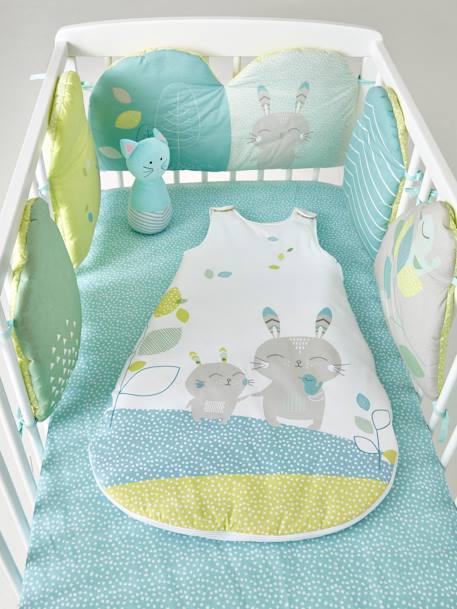 tour de lit modulable reve nordik blanc vert bleu vertbaudet. Black Bedroom Furniture Sets. Home Design Ideas