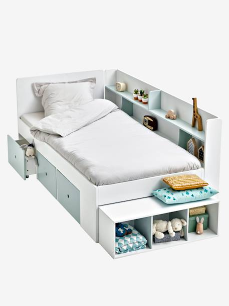 lit plateforme enfant avec rangements baseo blanc gris clair vertbaudet. Black Bedroom Furniture Sets. Home Design Ideas