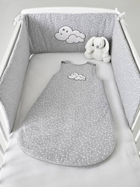 Tour de lit matelassé NUAGE CELESTE gris moyen imprimé - Vertbaudet