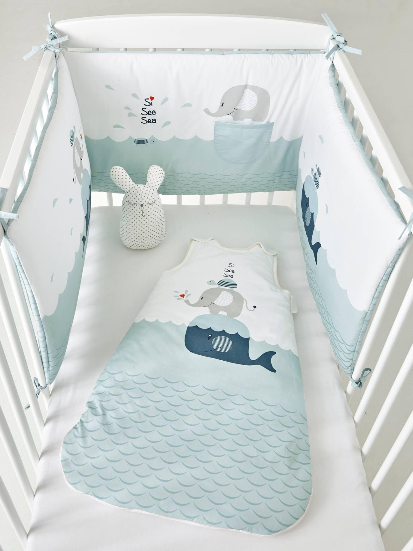 Tour de lit BALEIN'EAU bleu clair - Vertbaudet