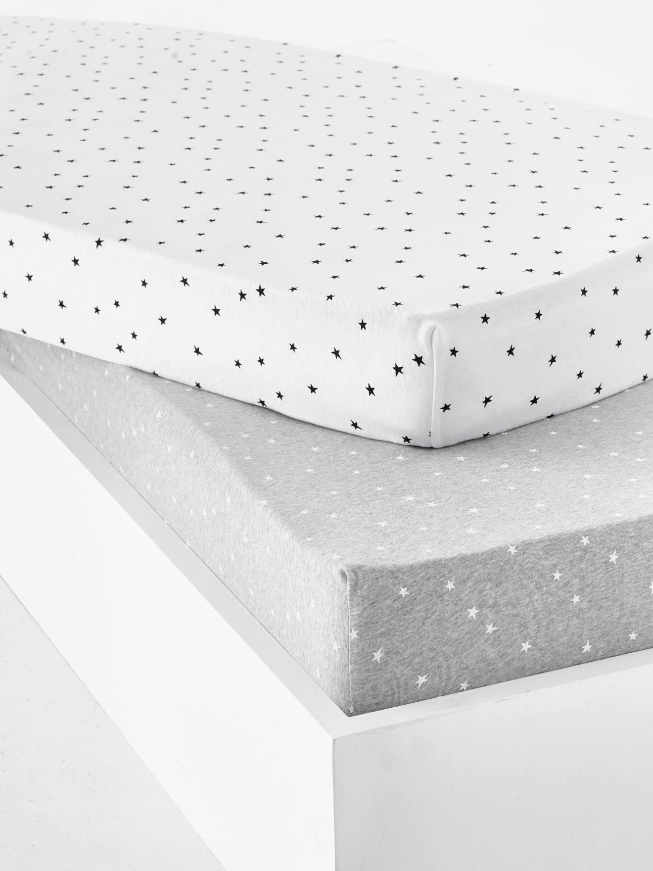 Lot de 2 draps-housses bébé en jersey extensible imprimé étoiles gris chiné/blanc