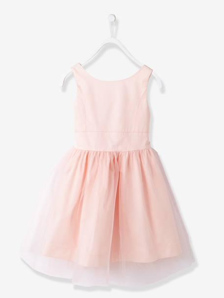 04c6209ad504d Robe de cérémonie fille en satin et tulle BLANC+ORANGE+ROSE CLAIR 13 -