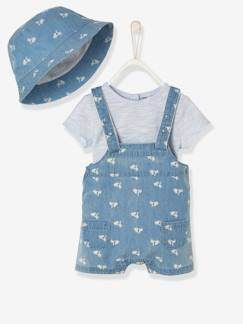 valisevacances-bebeenvacances-Ensemble denim scooters bébé garçon body, salopette et bob