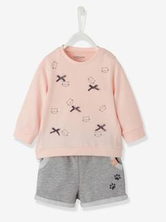 ARC EN CIEL-Ensemble T-shirt et short molleton bébé fille