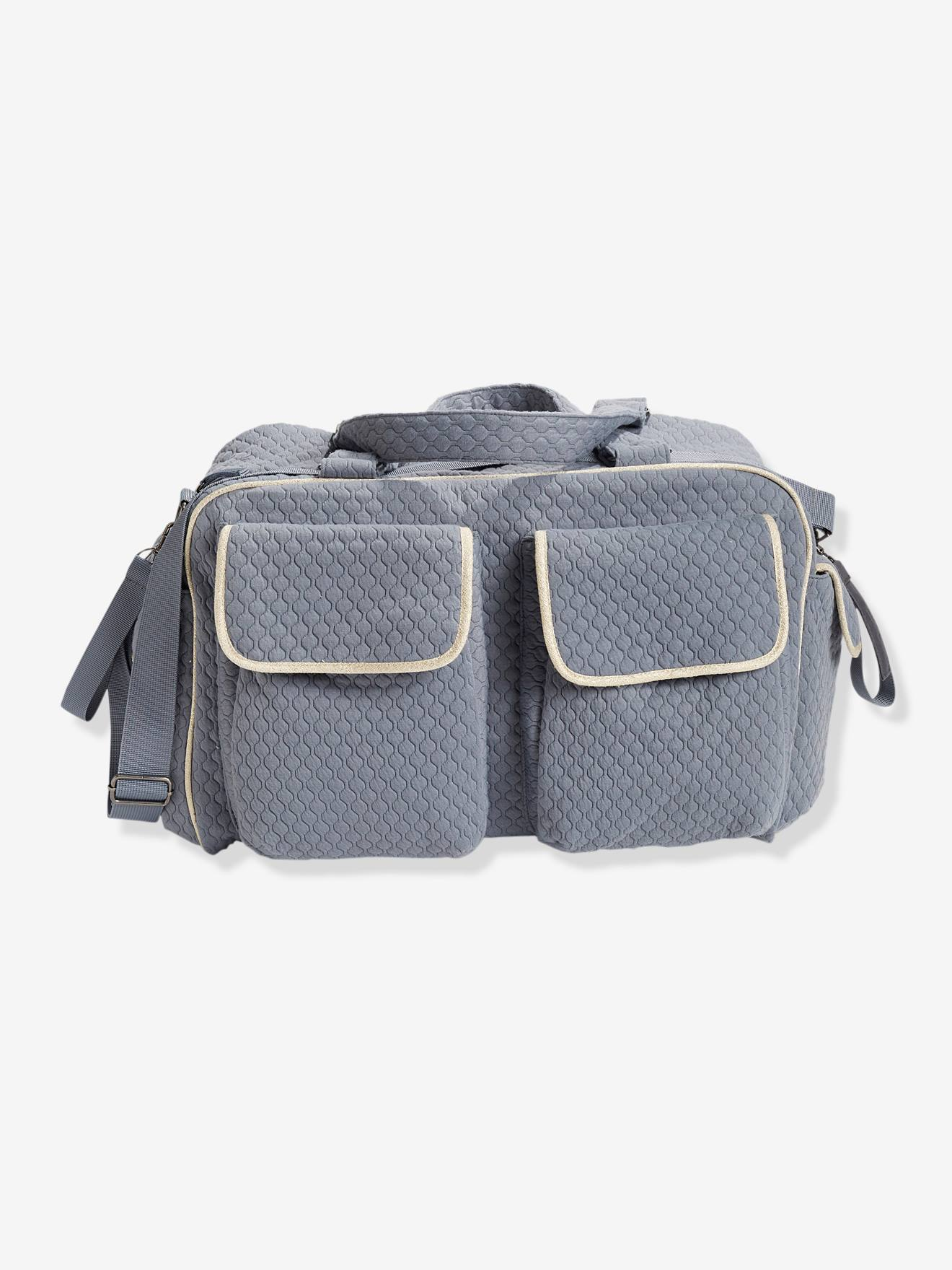 SOLDES - Sac à langer Week-end vertbaudet bleu grisé motif chevrons 96545d65551
