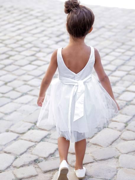 eed279d86a8dc Robe de cérémonie fille en satin et tulle BLANC+ORANGE+ROSE CLAIR 5 -