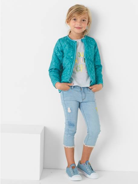 Jean slim fille 7/8 avec badges sequins Double stone 4 - vertbaudet enfant