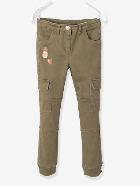 Pantalon slim battle fille Kaki+Rose blush 1 - vertbaudet enfant