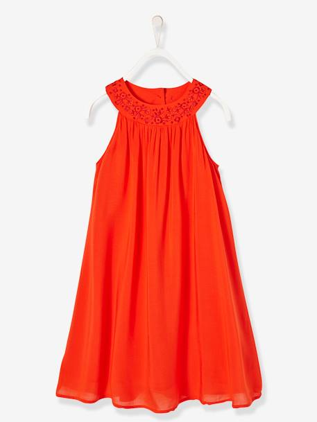 Robe longue fille encolure bijoux Orange vif 1 - vertbaudet enfant