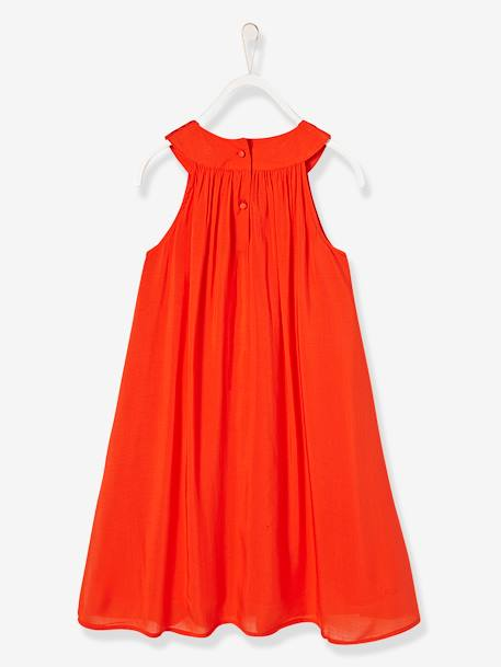 Robe longue fille encolure bijoux Orange vif 5 - vertbaudet enfant