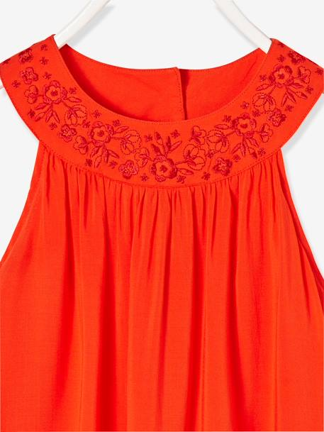 Robe longue fille encolure bijoux Orange vif 2 - vertbaudet enfant