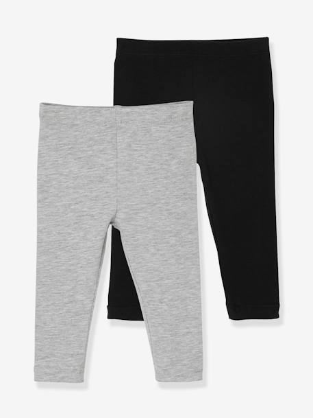 Lot de 2 leggings longs bébé fille LOT ANTHRACITE + POIS+LOT FRAMBOISE + POIS+LOT IVOIRE+Lot marine grisé+Lot noir+LOT NOIR+POIS+Lot rose+LOT ROSE PALE 21 - vertbaudet enfant