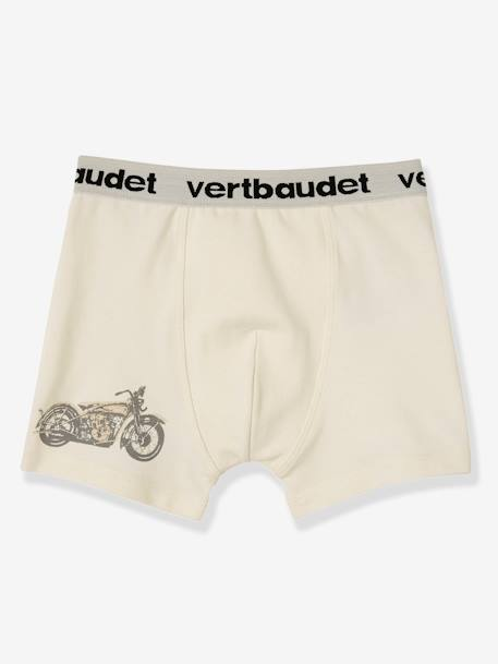 Lot de 3 boxers stretch garçon Blanc/multicolore+Bleu moyen/multicolore 4 - vertbaudet enfant