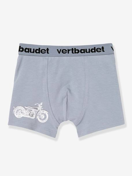 Lot de 3 boxers stretch garçon Blanc/multicolore+Bleu moyen/multicolore 7 - vertbaudet enfant