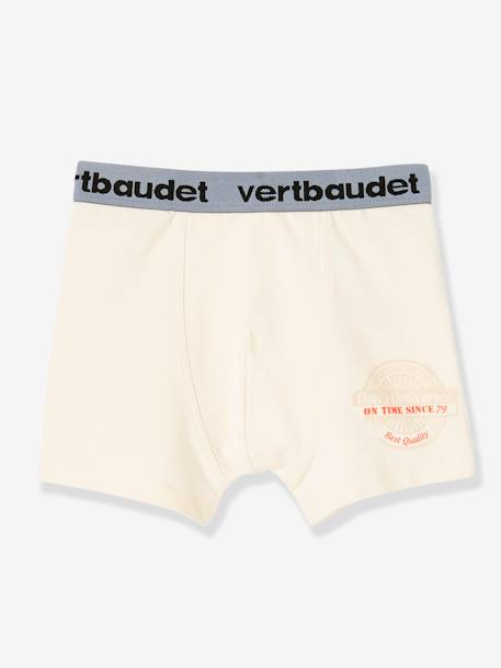 Lot de 3 boxers stretch garçon Blanc/multicolore+Bleu moyen/multicolore 8 - vertbaudet enfant