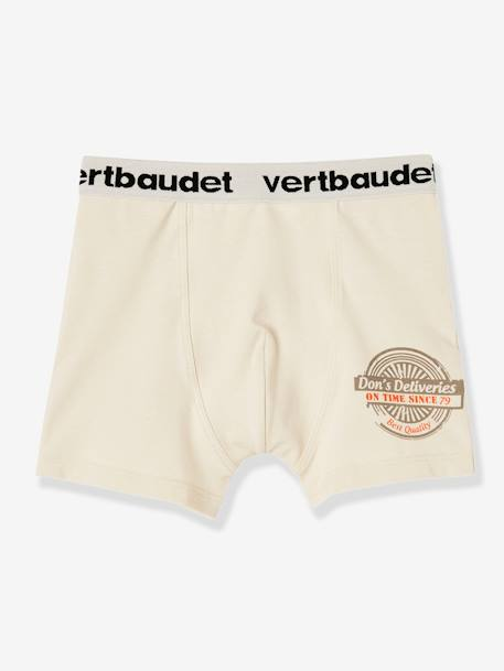 Lot de 3 boxers stretch garçon Blanc/multicolore+Bleu moyen/multicolore 2 - vertbaudet enfant