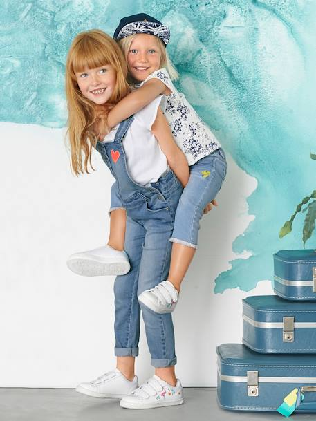 Jean slim fille 7/8 avec badges sequins Double stone 9 - vertbaudet enfant