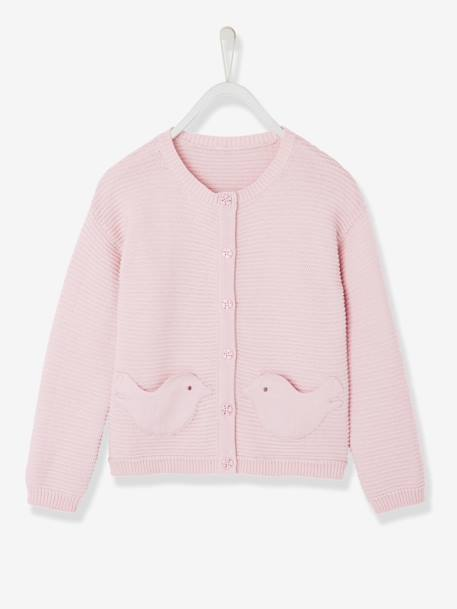 Gilet fille maille fantaisie Collection Maternelle Lavande+Rose 4 - vertbaudet enfant