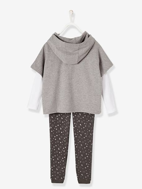 Ensemble fille sweat + T-shirt + pantalon Gris chiné+Rose pâle 4 - vertbaudet enfant