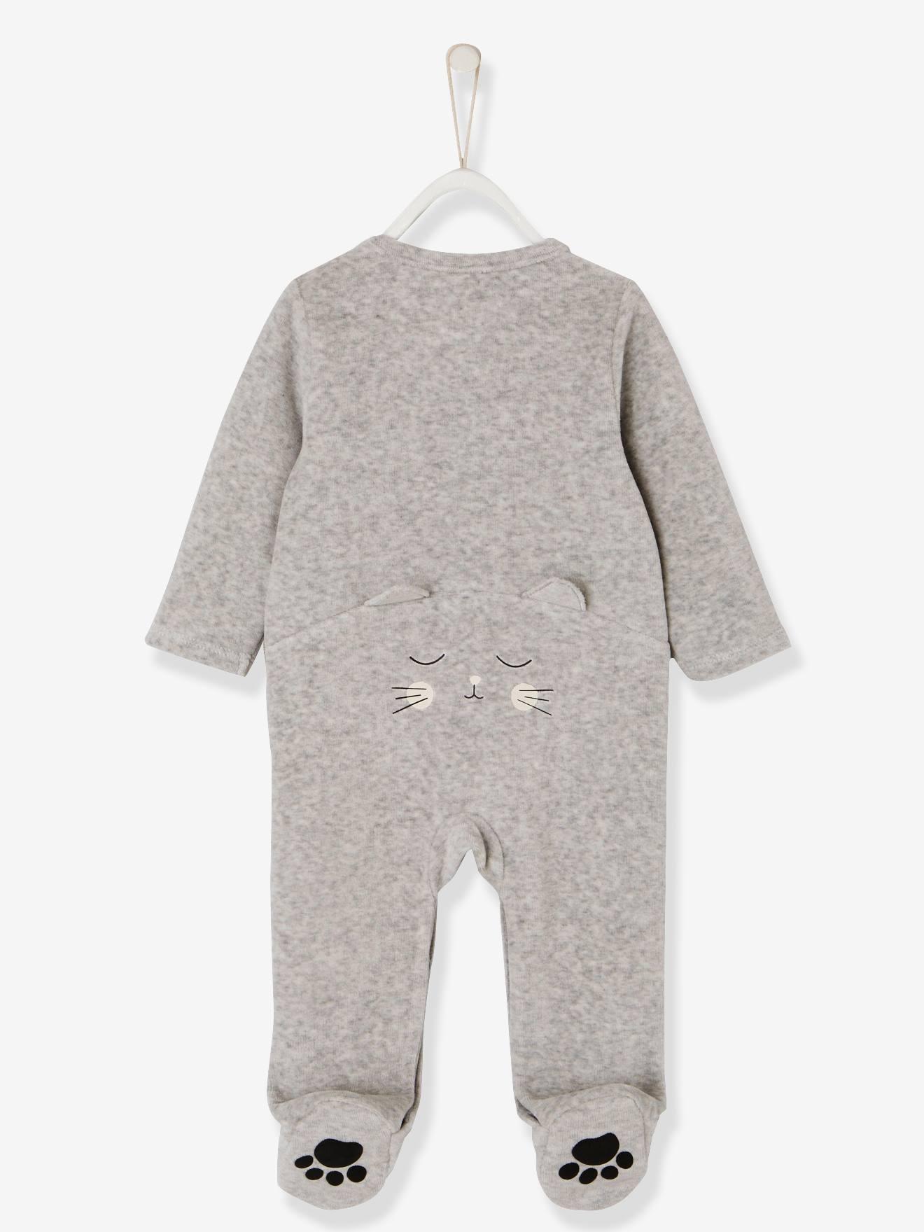 74CM VERTBAUDET Pyjama en velours b/éb/é/étoiles naissance ivoire 12M