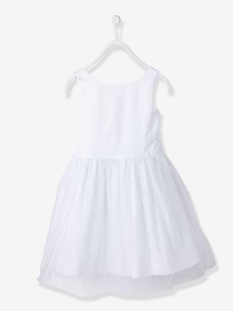 e4f79cb937a29 Robe de cérémonie fille en satin et tulle BLANC+ORANGE+ROSE CLAIR 2 -