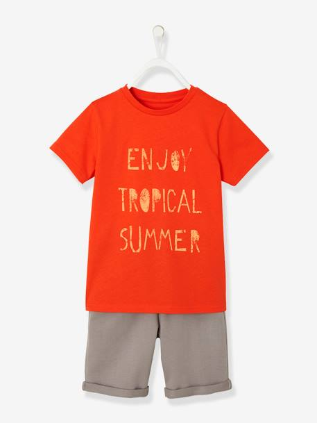 Ensemble garçon T-shirt + bermuda ORANGE 1 - vertbaudet enfant