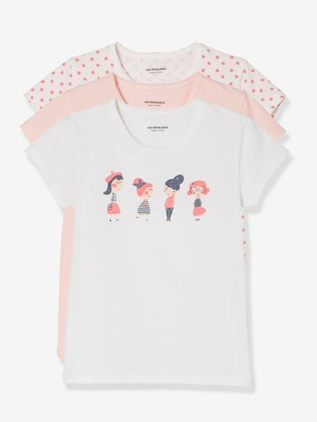 Lot de 3 T-shirts stretch fille manches courtes Lot eau de rose 1 - vertbaudet enfant