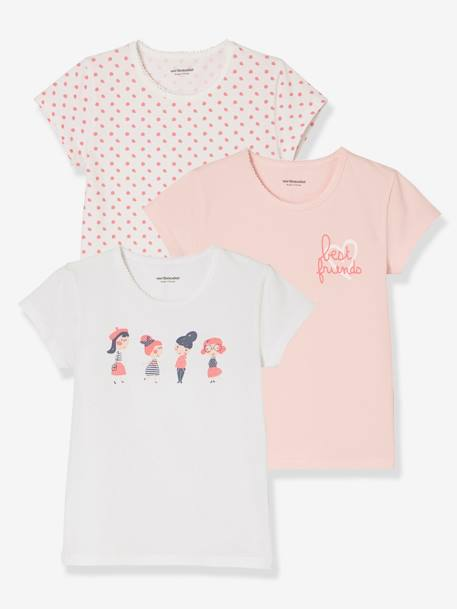 Lot de 3 T-shirts stretch fille manches courtes Lot eau de rose 4 - vertbaudet enfant