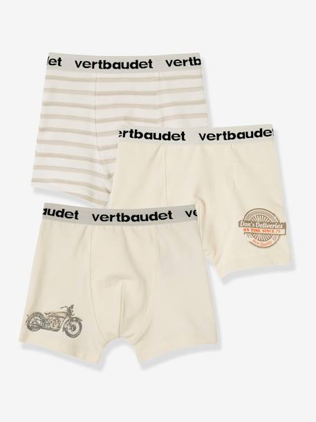 Lot de 3 boxers stretch garçon Blanc/multicolore+Bleu moyen/multicolore 5 - vertbaudet enfant