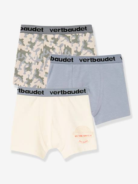 Lot de 3 boxers stretch garçon Blanc/multicolore+Bleu moyen/multicolore 10 - vertbaudet enfant